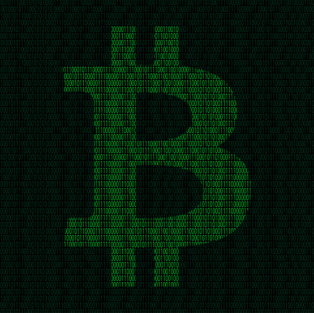Illustration of silhouette of bitcoin symbol from binary digits
