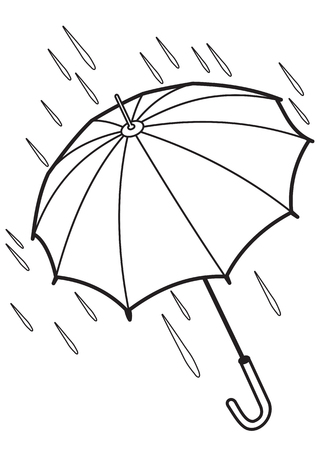 Illustration of an umbrella outline with drops isolated on a white background