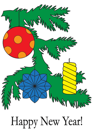 Illustration of a branch of a Christmas tree with toys isolated on a white background Illustration