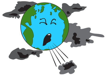 Illustration eines hustenden Planeten Erde mit schlechten Wolken