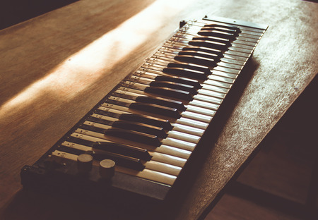 Vintage lonely sad keys on a wooden table Stock Photo