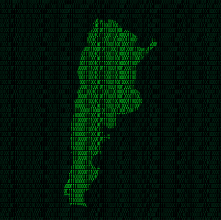 Illustration of silhouette of Argentina from binary digits on background of binary digits