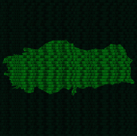 Illustration of silhouette of Turkey from binary digits on background of binary digits Illustration