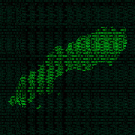 Illustration of silhouette of Sweden from binary digits on background of binary digits Illustration