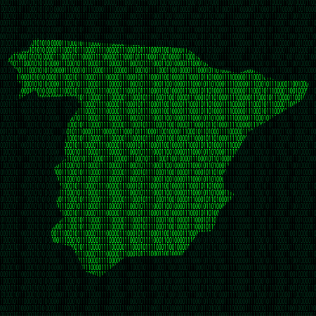 Illustration of silhouette of Spain from binary digits on background of binary digits