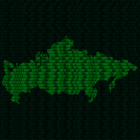 Illustration of silhouette of Russia from binary digits on background of binary digits