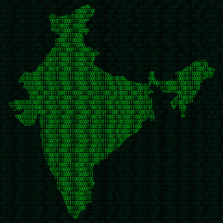 Illustration of silhouette of India from binary digits on background of binary digits