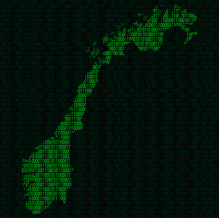 Illustration of silhouette of Norway from binary digits on background of binary digits