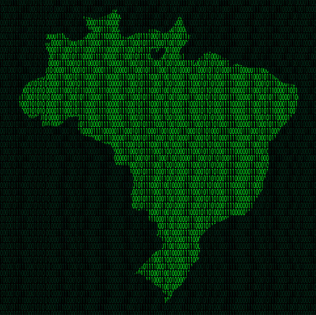 Illustration of silhouette of Brazil from binary digits on background of binary digits Illustration
