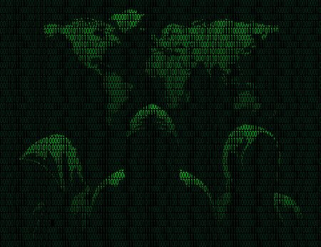 Illustration of silhouettes of three anonymous and maps the world from binary digits on a dark background of binary digits Illustration