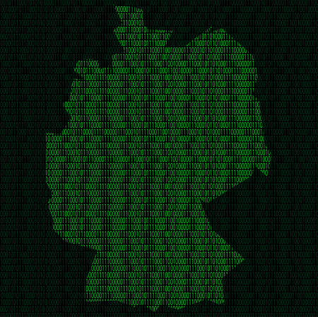 Illustration of silhouette of Germany from binary digits on background of binary digits Illustration