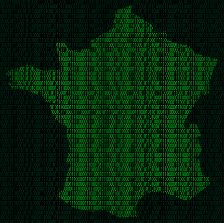 Illustration of silhouette of France from binary digits on background of binary digits