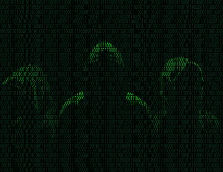 Illustration of silhouettes of three anonymous from binary digits on a dark background of binary digits