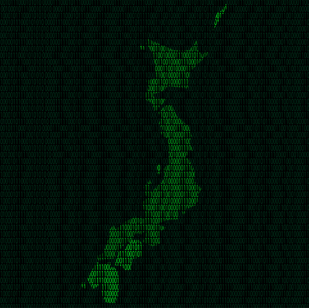 Illustration of silhouette of Japan from binary digits on background of binary digits Illustration