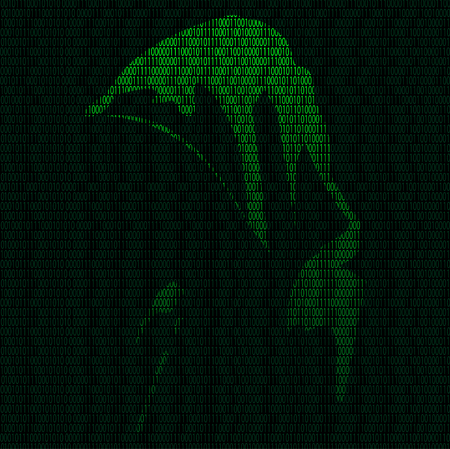 Illustration of silhouette of a hacker on a background of binary digits