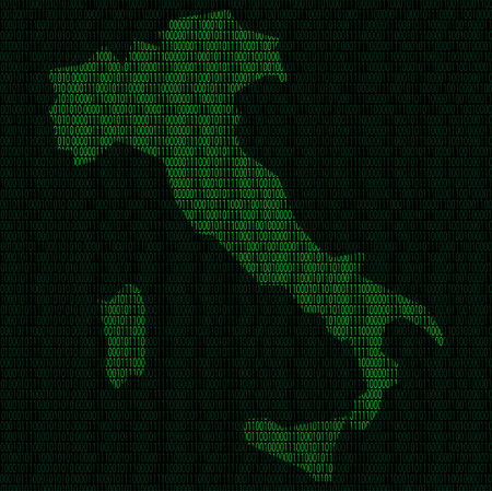 Illustration of silhouette of Italy from binary digits on background of binary digits