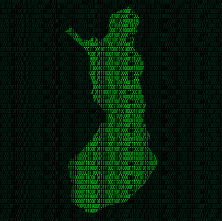 Illustration of silhouette of Finland from binary digits on background of binary digits
