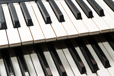octaves: Parts of two classical music keyboard close up