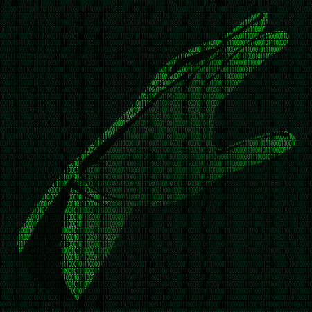 Illustration of hand of binary code on a background of binary digits