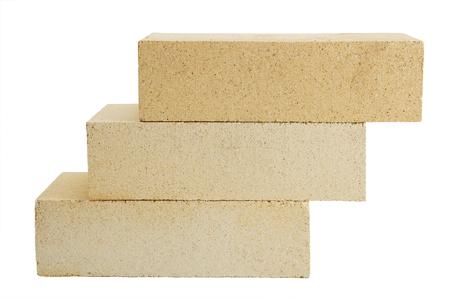 Figure of three building bricks isolated on white background Stok Fotoğraf