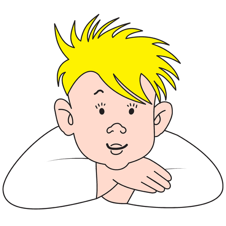 Illustration of a cartoon blond boy on a white background