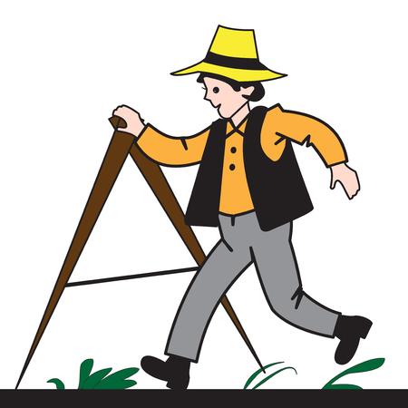 A cartoon boy measures the length of a piece of land Vectores