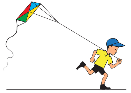Running boy with a flying kite Ilustrace