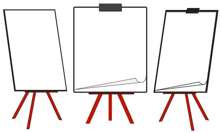Abbildung von drei verschiedenen sauberen Flipcharts getrennt auf weißem Hintergrund