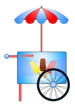 Illustration of a cart with ice cream Ilustrace