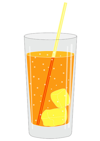 Illustration of a glass with a drink with tube and ice cubes