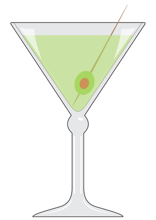 Illustration of a glass with a drink and an olive