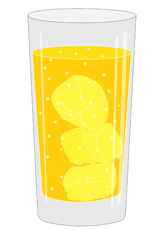 Illustration of a glass with a drink and ice cubes