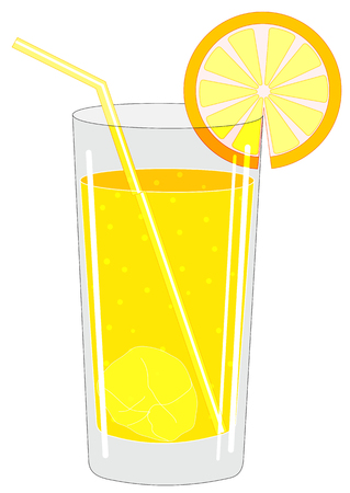 Illustration of a glass with a drink and ice cubes and a fruit and slice cocktail tube Illustration