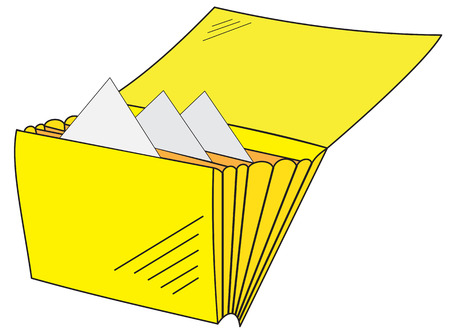 Illustration of a blue folder with documents on a white background