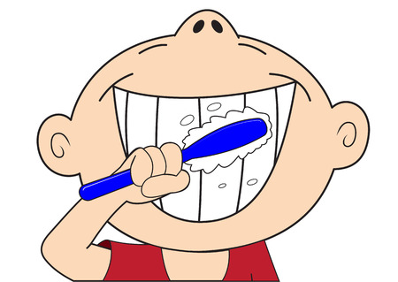 Cartoon boy brushing his teeth isolated on white background