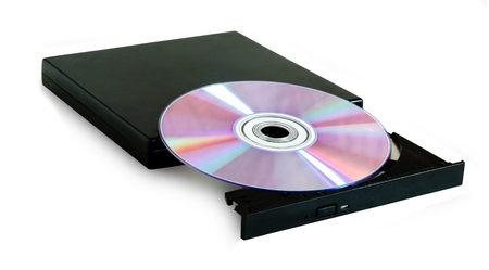 DVD drive with disc isolated on white background Archivio Fotografico - 126202354