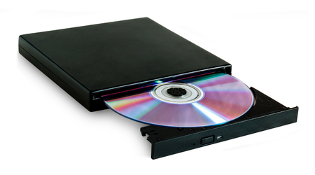 DVD drive with disc isolated on white background Archivio Fotografico - 126202357