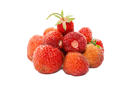 A handful of ripe strawberries isolated on white background