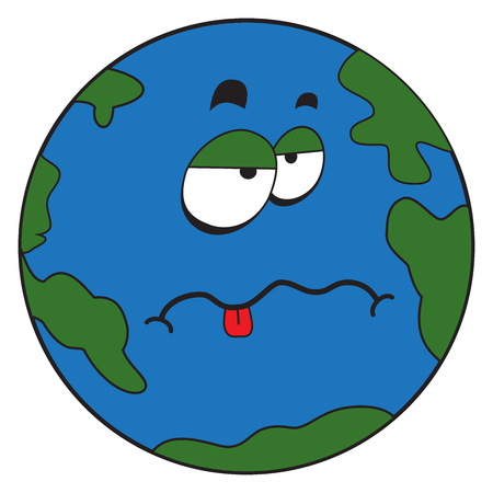 Illustration of a comic cartoon strange planet earth