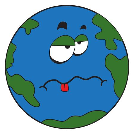 Ilustración de un extraño planeta tierra de historieta cómica