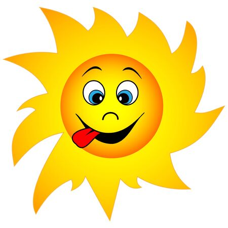 Illustration of a funny cartoon sun with mown eyes and tongue hanging out