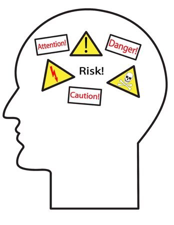 Illustration of the contour of a human head with danger symbols