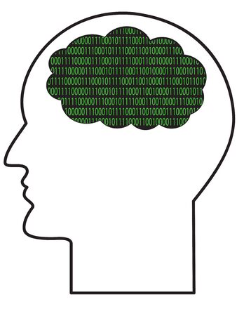 The contour of the human head with a binary computer code