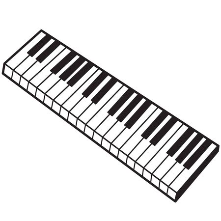 Illustration of the keyboard of a musical instrument on a white background Archivio Fotografico - 126202422