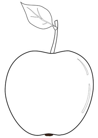 Illustration of the outline of an apple with a leaf Stock Illustratie