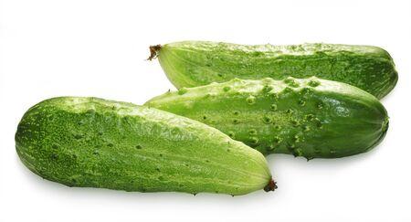 Three green cucumbers isolated on white background Zdjęcie Seryjne