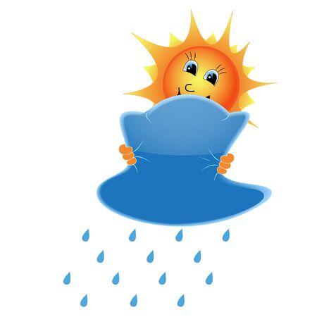 Illustration of a sun clutching a rainy cloud