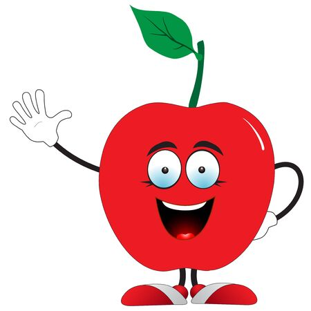 Illustration of a red apple says hello on a white background Ilustracja