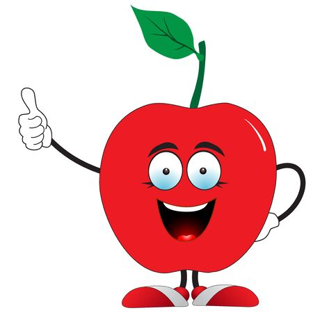 Illustration of a red apple says super on a white background