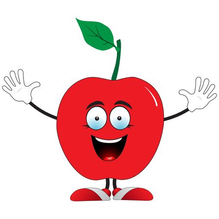 Illustration of a smiling red apple on a white background